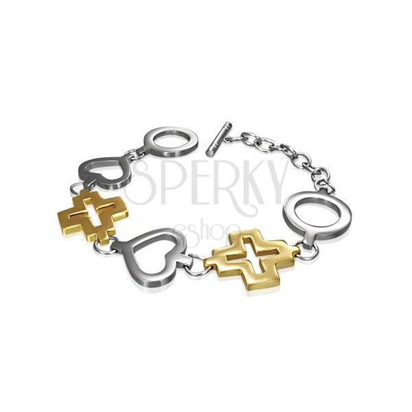 Edelstahlarmband - Kreis, Herz und goldenes Kreuz