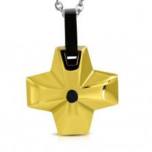 Edelstahlanhänger - breites goldfarbenes Kreuz mit schwazem Element