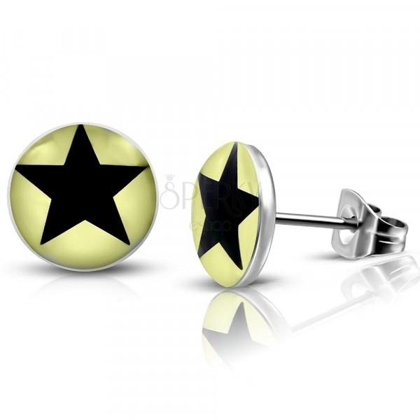 Stahl Ohrringe - hellgelbe Kreise mit einem schwarzen Stern, Ohrstecker