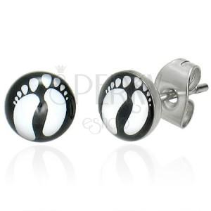 Ohrringe aus Chirurgenstahl mit Fußabdrücken