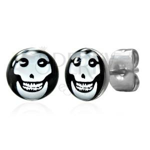Ohrringe aus rostfreiem Stahl mit abgebildetem Schädel
