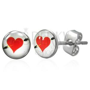 Ohrstecker aus 316L Chirurgenstahl - Herz mit Pfeil
