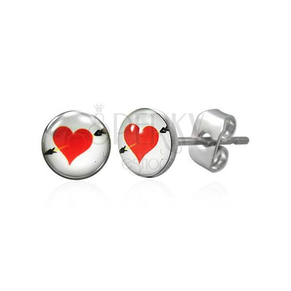 Ohrstecker aus Chirurgenstahl - rotes Herz mit Pfeil
