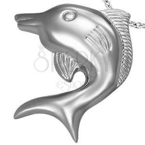 Großer Delfin Anhänger aus Edelstahl