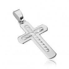 925 Silberanhänger - abgerundetes Kreuz mit Seilmuster
