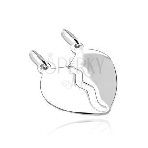 Anhänger aus Silber 925 - gebrochenes Herz in Spiegeloptik
