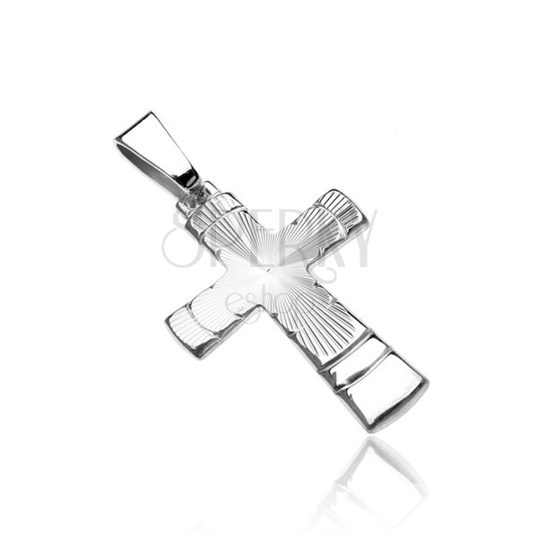 Silberner 925 Anhänger - Kreuz mit Konusspuren und Bogen