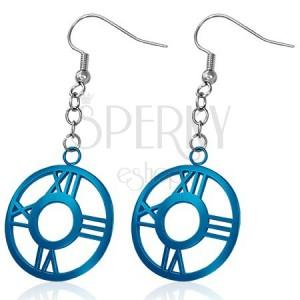 Ohrhänger aus Stahl - dunkelblauer Kreis mit römischen Ziffern