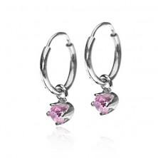 Ohrringe aus 925 Silber - kleine Kreise, rosa Zirkonia in becherförmiger Fassung