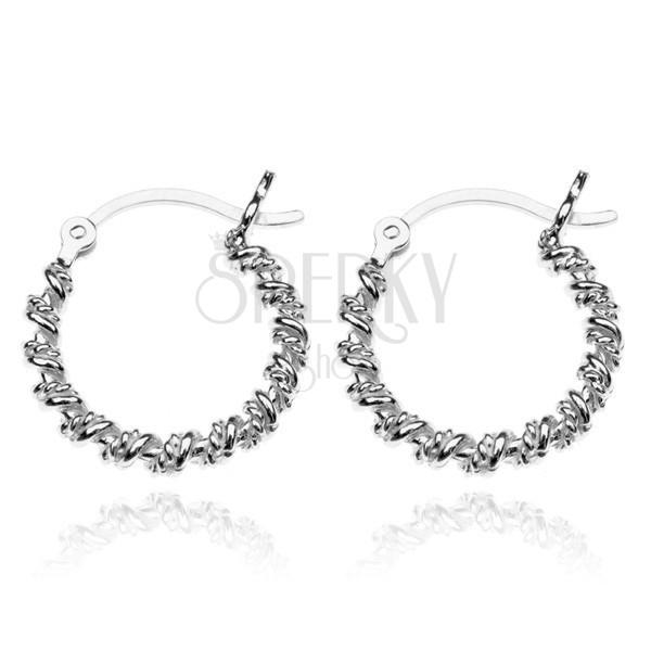 Ohrringe aus Silber 925 - Kreise umwickelt mit Draht, 18 mm ...