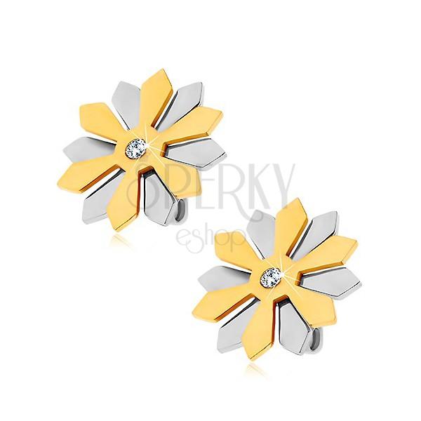 Edelstahlohrstecker - Blume mit goldenen und silbernen Blütenblättern und Zirkon
