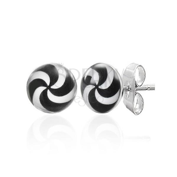 Hypnotisierende Edelstahlohrringe in Schwarz-Weiß