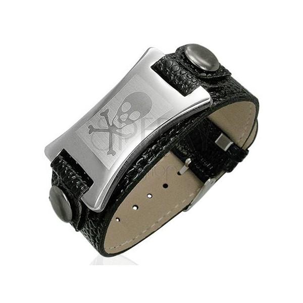 Kunstleder Armband mit Metallplatte und Schädel