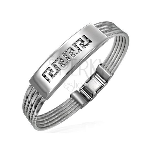 Stahl Armband - fünf gedrehte Kabel, griechisches Motiv