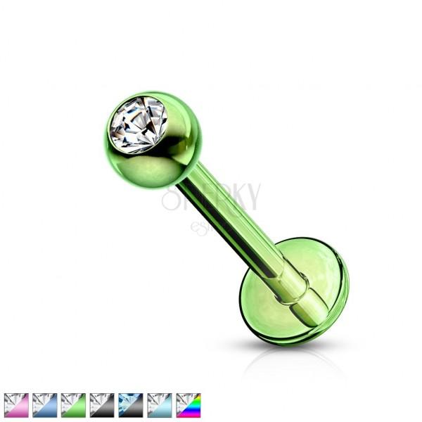 Edelstahl Labret-Piercing - Kugel mit Zirkon, Titan eloxierte Oberfläche