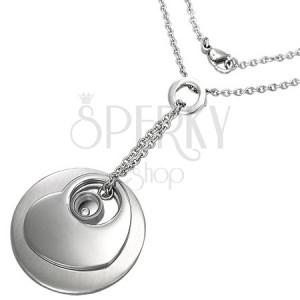 Halskette aus Chirurgenstahl mit Kreis, Herz, Ring und Zirkonia