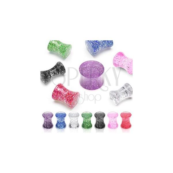 UV Ohrplug mit Glitter, Sattelform, Marmoroptik
