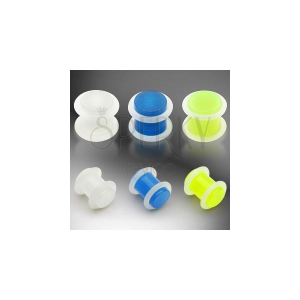 UV Ohpplug, leuchtend, zwei Gummiringe